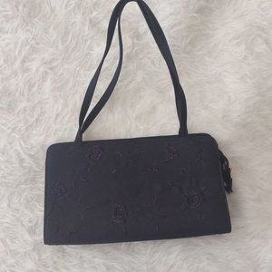 Vintage 90s 100% Silk Embroidered Evening Bag Navy